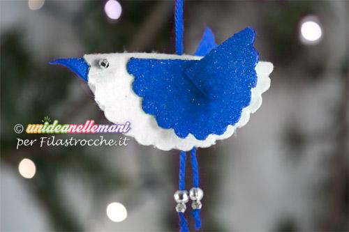 decorazione in pannolenci uccellino