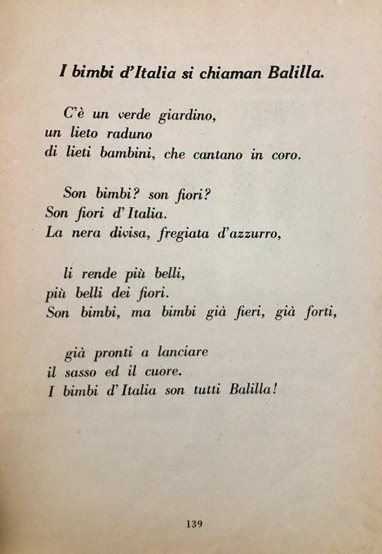 bimbi d'Italia si chiaman Balilla