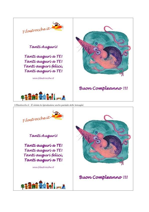 Popolare Biglietto d'Auguri Compleanno - Topo - Stampa, disegna e crea con  BL98