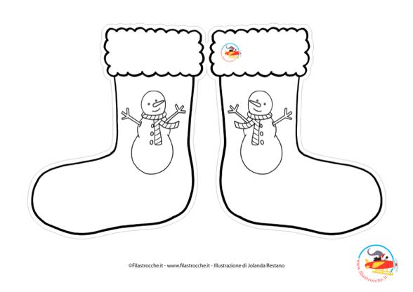 Addobbi di natale calza pupazzo di neve da colorare - Pupazzo di neve pagine da colorare ...