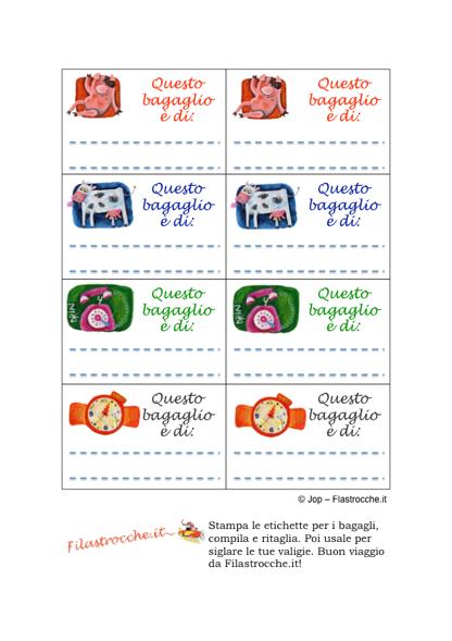 Eccezionale Cose utili - Etichette per bagagli - Stampa, disegna e crea con  IO88