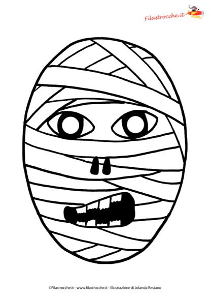 Maschera di halloween mummia da colorare stampa - Specchio dell amata parafrasi ...