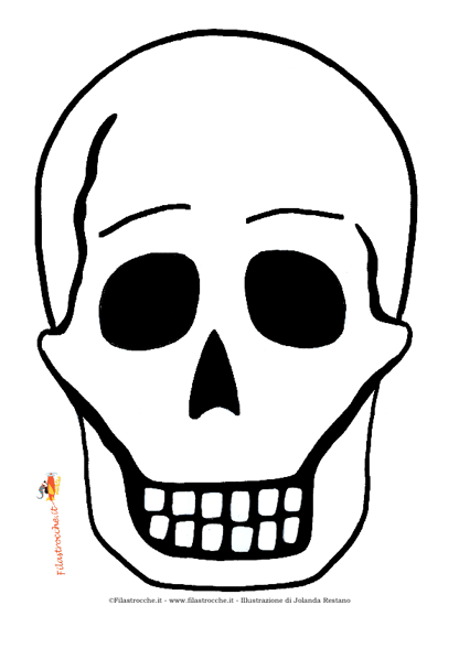 Maschera di halloween teschio da colorare stampa for Teschi da disegnare