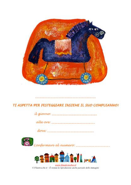 Invito da appendere festa di compleanno – cavallo a dondolo