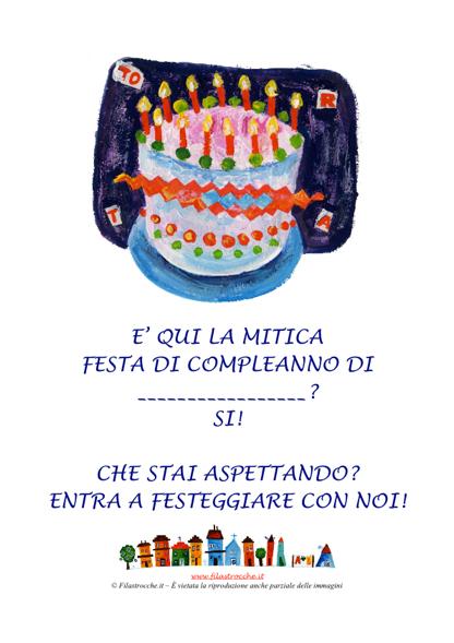 abbastanza Invito a entrare per la Festa di Compleanno - Poster Torta  NH61
