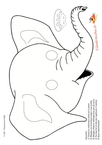 Favorito Maschera di Carnevale - Elefante da colorare - Stampa, disegna e  JE99