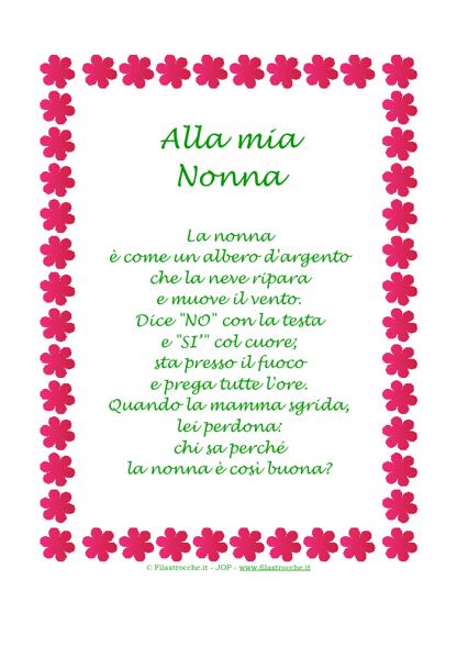 """Estremamente Idea Regalo - Poesia in cornice, Fiorellini - """"Alla mia Nonna  BG76"""