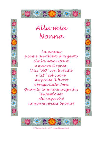 """Famoso Idea Regalo - Poesia in Cornice, Greca di fiori - """"Alla mia Nonna  LN88"""