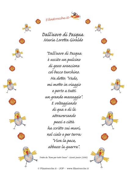 Idea regalo per pasqua poesia in cornice dall 39 uovo di for Poesia di pasqua per bambini