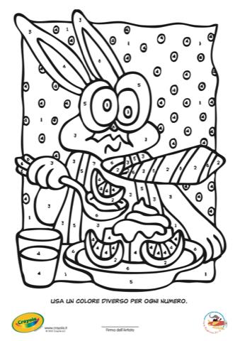 Gioca con crayola colora con i numeri il coniglietto - Colore per numeri per i bambini ...