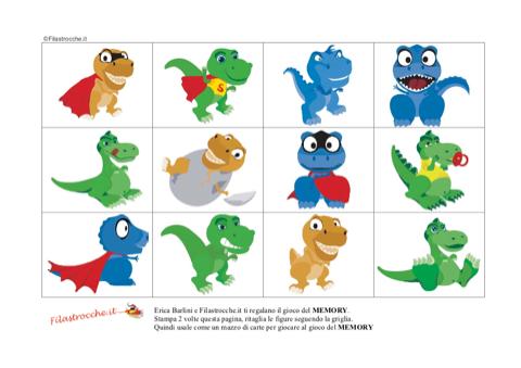 Gioco memory con i dinosauri stampa disegna e crea - Stampa pagine da colorare dinosauro ...