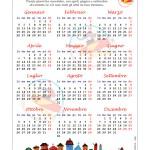 Calendario 2015 Tradizionale – Annuale in una pagina, con filastrocca