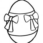 Coloriamo la Pasqua – Disegno da colorare, l'Uovo di Pasqua con i fiocchetti