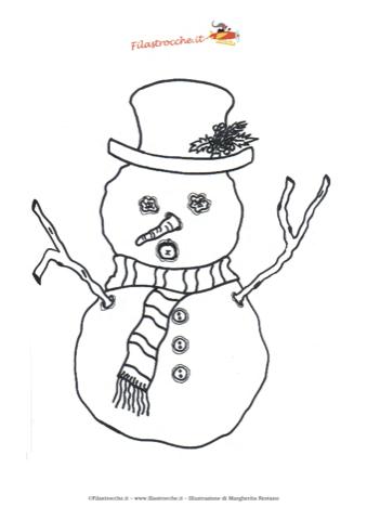 Coloriamo il natale disegno da colorare il pupazzo di - Pupazzo di neve pagine da colorare ...