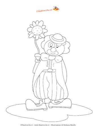 Disegno da colorare pagliaccio for Pagliaccio da disegnare