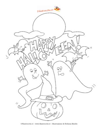 Coloriamo halloween disegno da colorare zucca e fantasmi for Fantasmi disegni da colorare