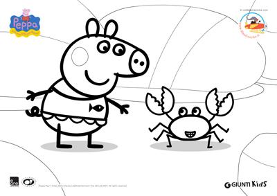 Peppa pig disegni da colorare peppa pig in spiaggia for Peppa pig da stampare