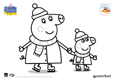 Peppa pig disegni da colorare peppa pig sui pattini for Maschere di peppa pig da colorare