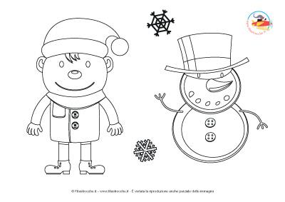 Disegni da colorare per natale bimbo con pupazzo di neve - Pupazzo di neve pagine da colorare ...