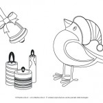 Disegni da colorare per Natale: uccellino col cappello