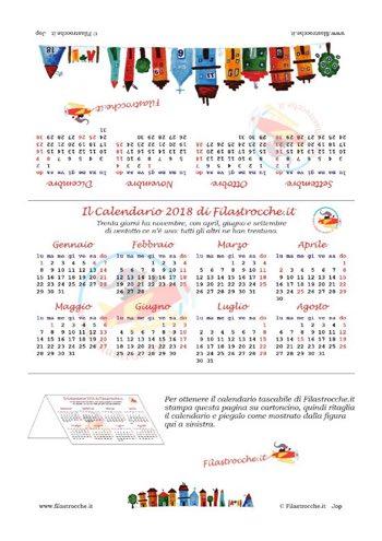 Calendari 2018 tradizionali gratuiti fai da te da stampare - Calendari da tavolo 2018 ...