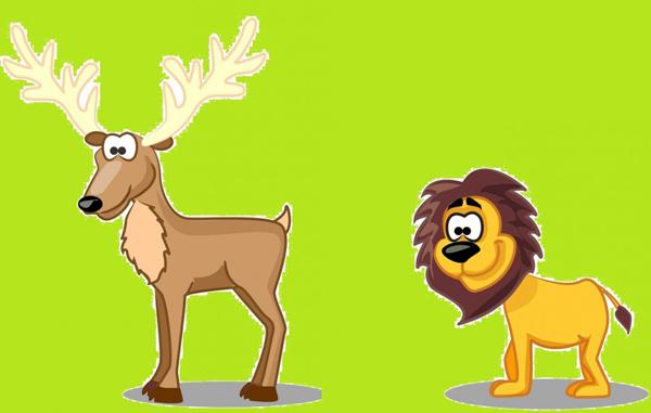 cervo alla fonte e il leone