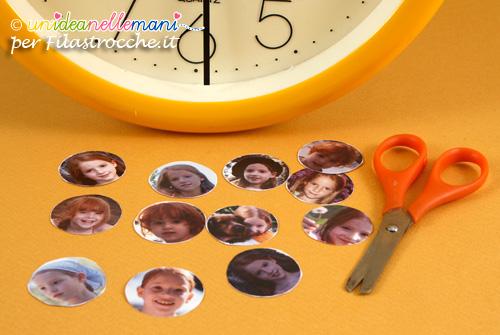 lavoretto festa dei nonni, orologio personalizzato con le foto,