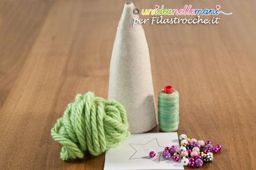 Albero di Natale per bambini, albero di natale di lana, albero di natale in cartone,