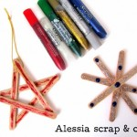 Stecchini e colla glitter per creare le stelle di Natale