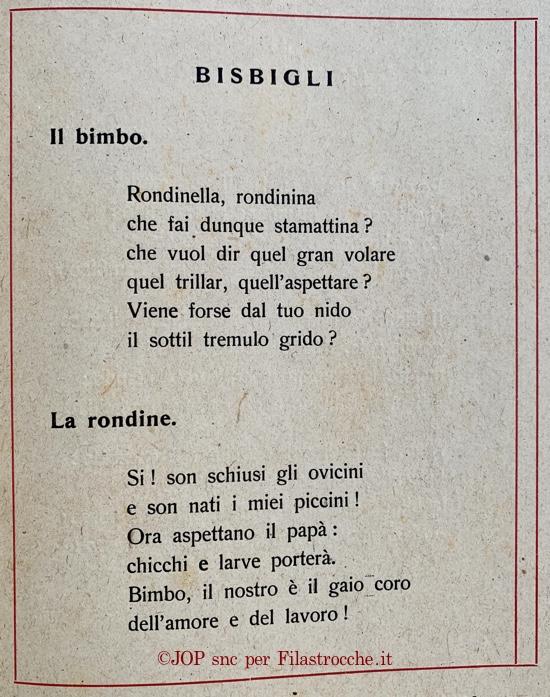 Bisbigli - Il bimbo e la rondine