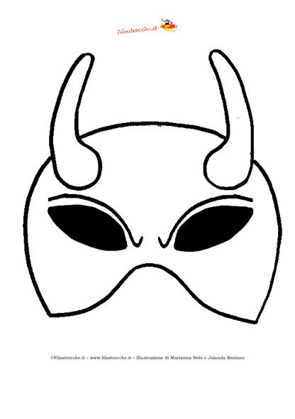 Maschere Di Halloween Da Colorare.Maschera Di Halloween Diavolo Da Colorare Stampa Disegna E Crea