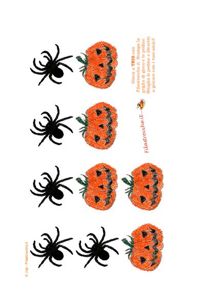 Gioco - Tris di Halloween con pedine Ragno e Zucca - Stampa af7ef0df31cb