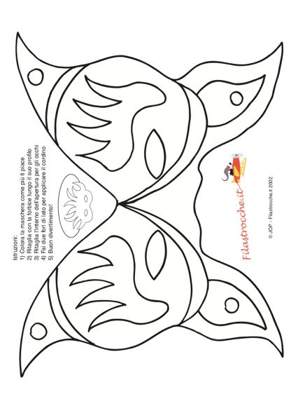 Maschera Di Carnevale Farfalla Da Colorare Stampa Disegna E