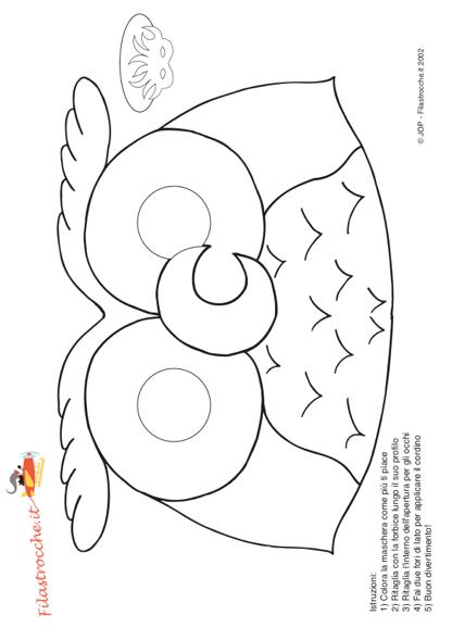 Maschera di carnevale gufo da colorare stampa disegna - Come disegnare un cartone animato di gufo ...