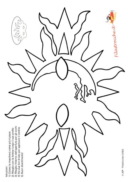 Immagine Sole Da Colorare.Maschera Di Carnevale Sole Da Colorare Stampa Disegna E Crea