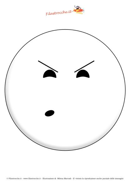 Maschera Di Carnevale Emoticon Scocciato Da Colorare Stampa