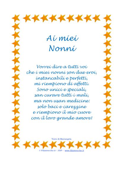 Auguri Matrimonio Dai Nonni : Idea regalo poesia in cornice stelline quot ai miei nonni