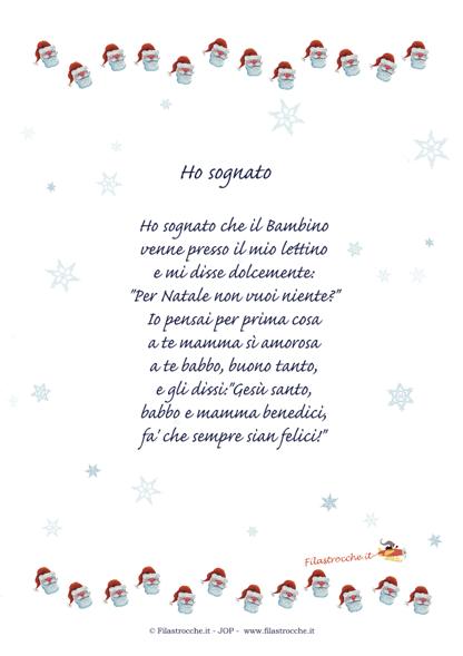 Idea regalo per natale poesia in cornice ho sognato for Abbellire la classe per natale