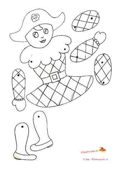 Pupazzo Arlecchino Da Colorare Stampa Disegna E Crea Con