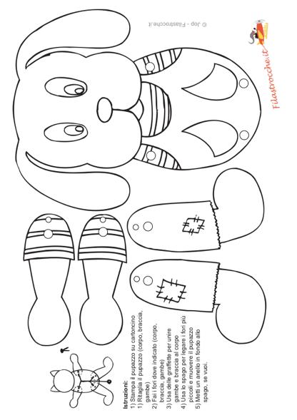 Pupazzo cagnolino da colorare stampa disegna e crea con for Disegno cane per bambini