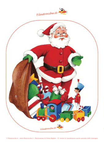 Immagini Babbo Natale Con Sacco.Addobbi Di Natale Ghirlanda Babbo Natale Con Il Sacco Dei