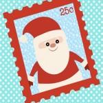 Decorazioni per Natale: Poster con francobollo di Babbo Natale