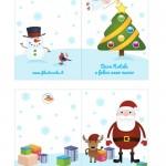 Biglietti di Auguri per Natale con alberello e pupazzo di neve