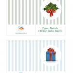 Biglietti di Auguri per Natale con agrifoglio e pacco regalo