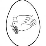 Coloriamo la Pasqua – Disegno da colorare, l'Uovo di Pasqua con la colomba