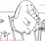 Disegno da colorare – La colazione dell'elefante