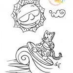 Disegni da colorare: il gatto surfista