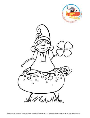 Disegni da colorare il folletto e il fungo for Fungo da colorare per bambini