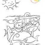 Disegni da colorare: gatto che osserva i pesci in mare