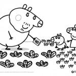 Peppa Pig: disegni da colorare: Peppa Pig e George nell'orto con Nonno Pig
